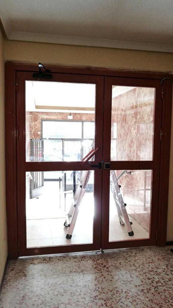 Puerta portal interior acabado marrón
